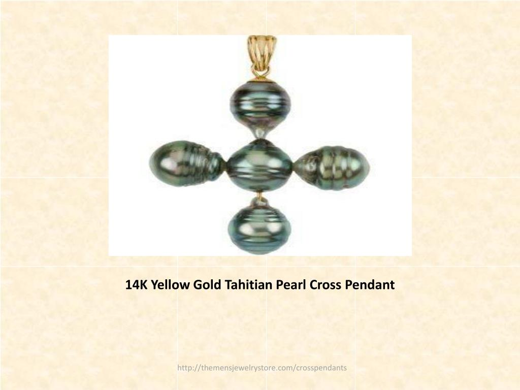 14K Yellow Gold Tahitian Pearl Cross Pendant