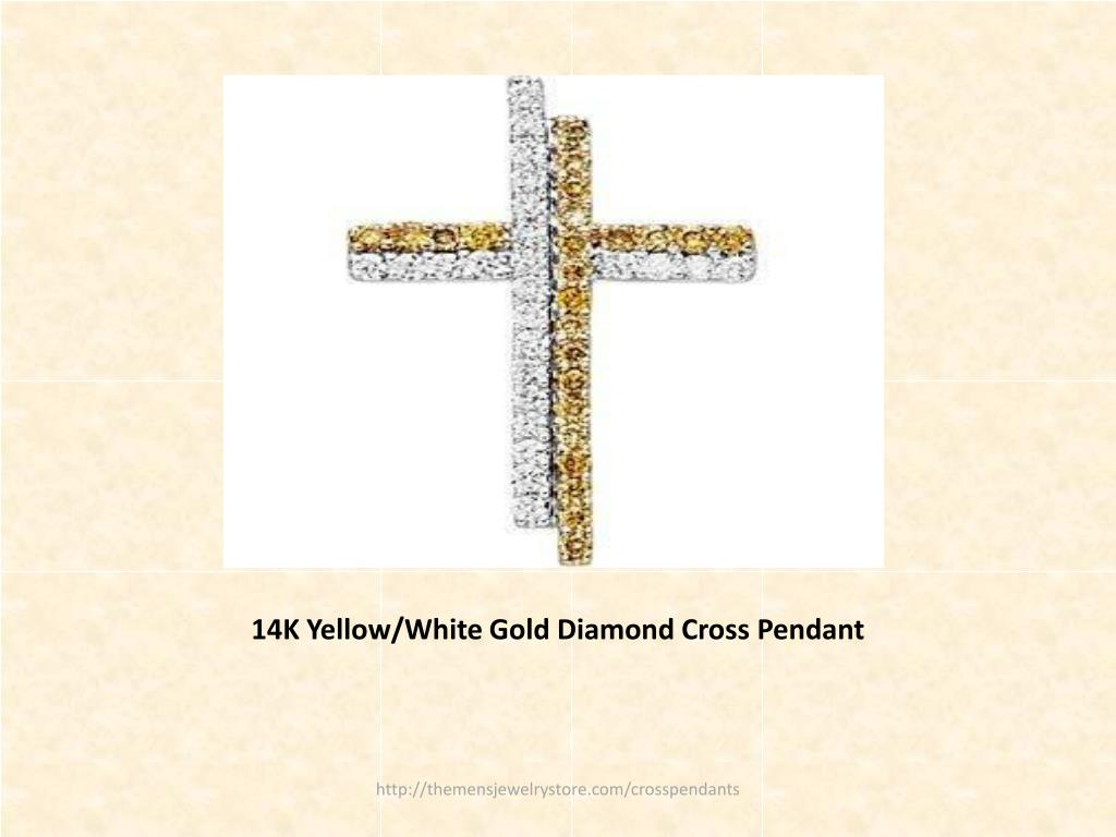 14K Yellow/White Gold Diamond Cross Pendant