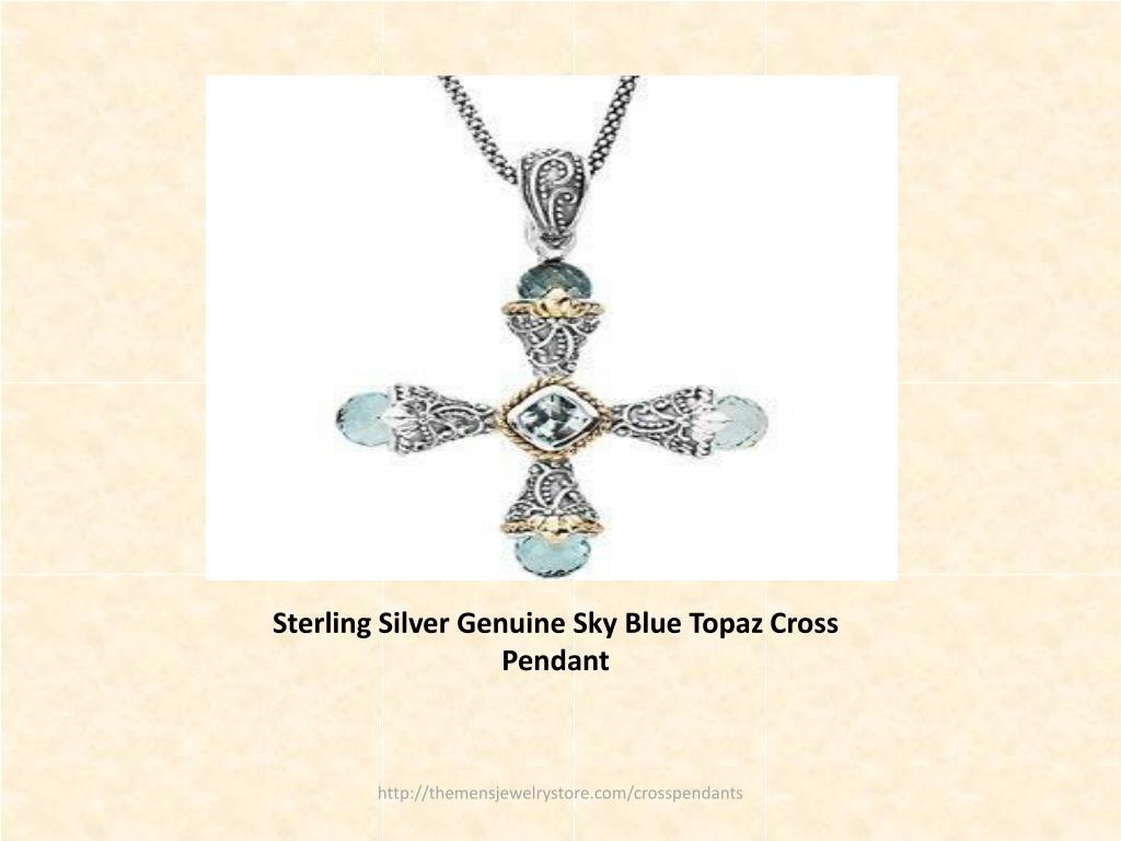 Sterling Silver Genuine Sky Blue Topaz Cross Pendant