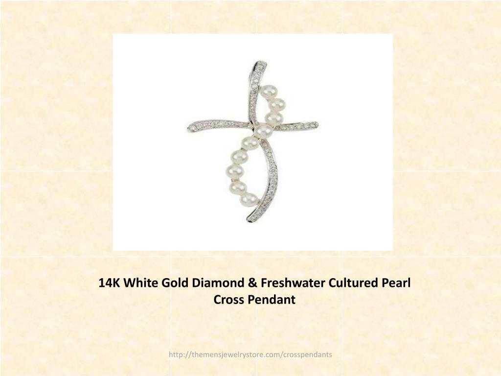 14K White Gold Diamond & Freshwater Cultured Pearl Cross Pendant