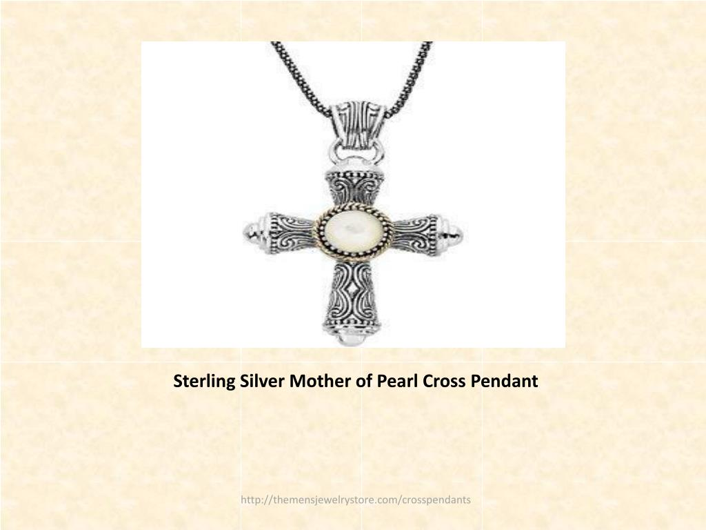 Sterling Silver Mother of Pearl Cross Pendant