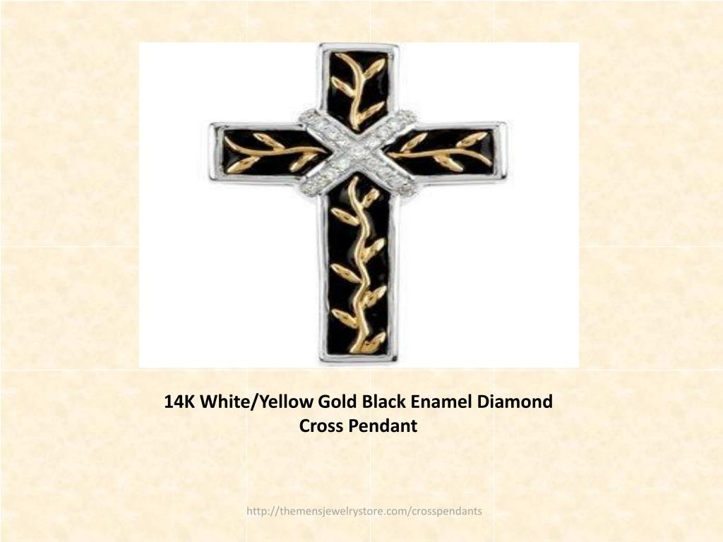 14K White/Yellow Gold Black Enamel Diamond Cross Pendant