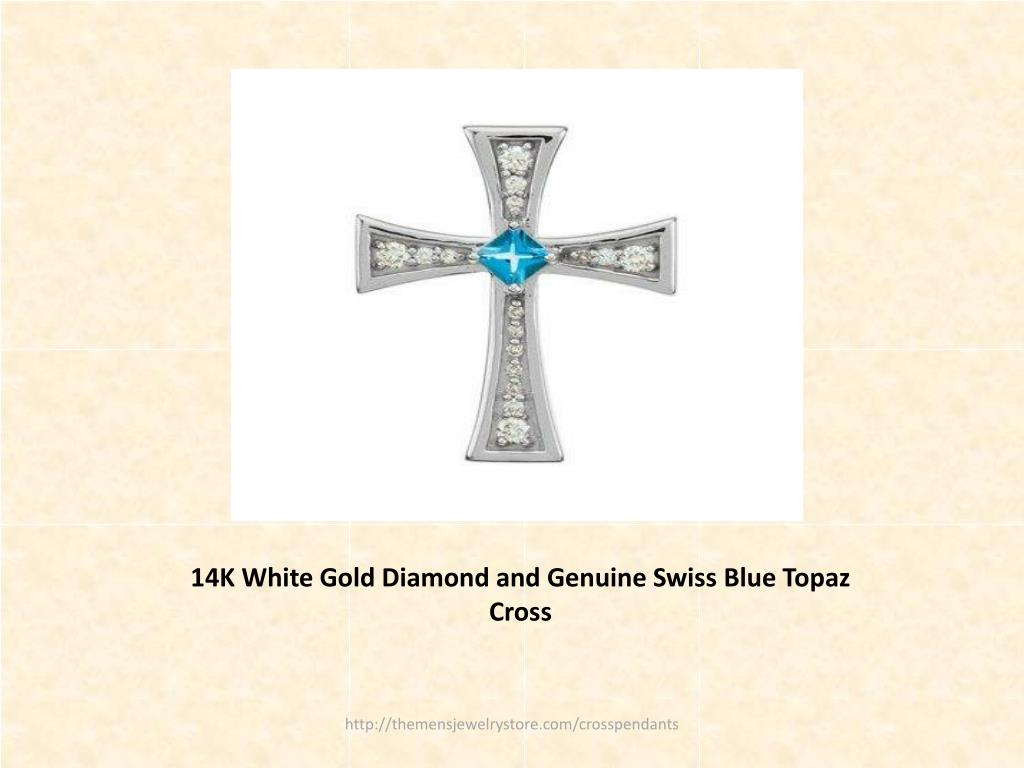 14K White Gold Diamond and Genuine Swiss Blue Topaz Cross