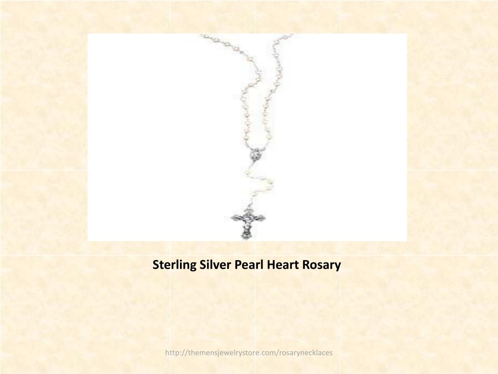 Sterling Silver Pearl Heart Rosary
