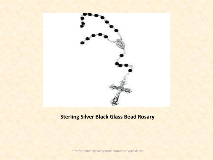 Sterling Silver Black Glass Bead Rosary