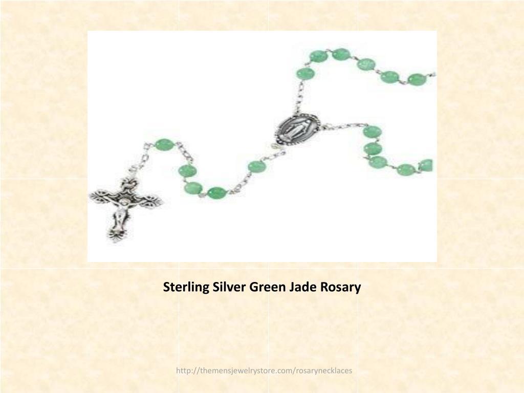 Sterling Silver Green Jade Rosary