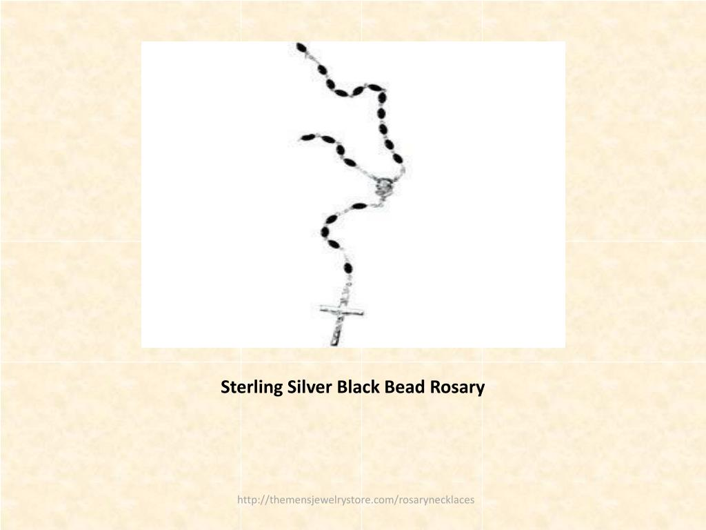 Sterling Silver Black Bead Rosary