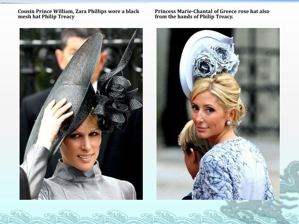 Cousin Prince William, Zara Phillips wore a black mesh hat Philip