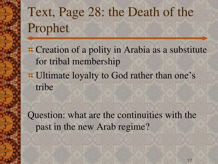 Text, Page 28: the Death of the Prophet