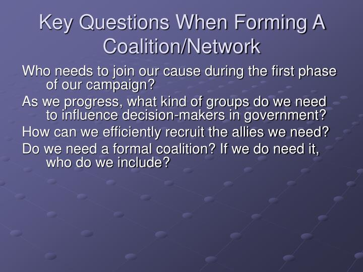 Key Questions When Forming A Coalition/Network