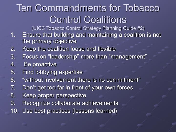Ten Commandments for Tobacco Control Coalitions