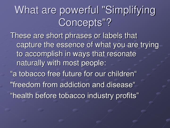 """What are powerful """"Simplifying Concepts""""?"""