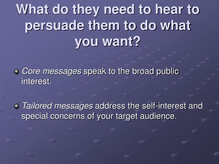What do they need to hear to persuade them to do what you want?