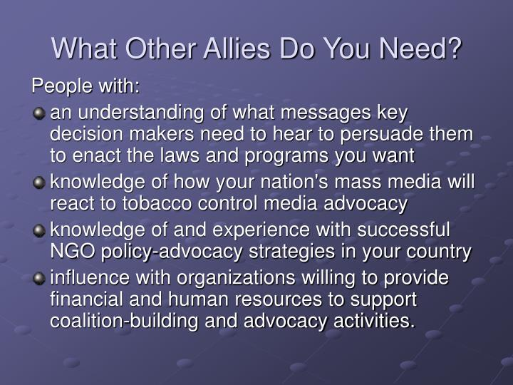 What Other Allies Do You Need?