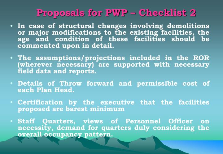 Proposals for PWP – Checklist 2