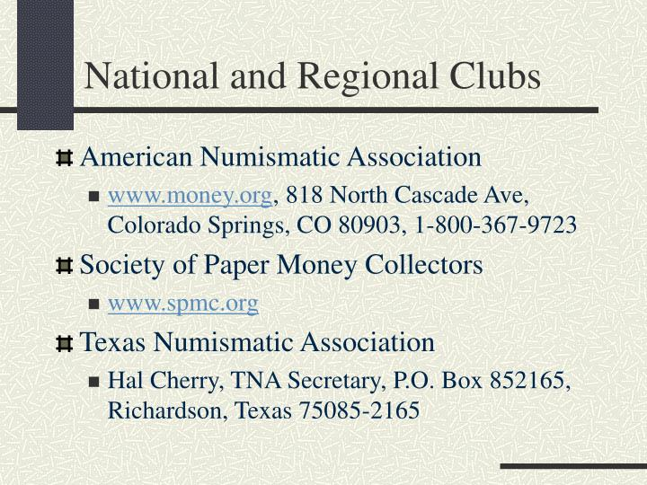 National and Regional Clubs