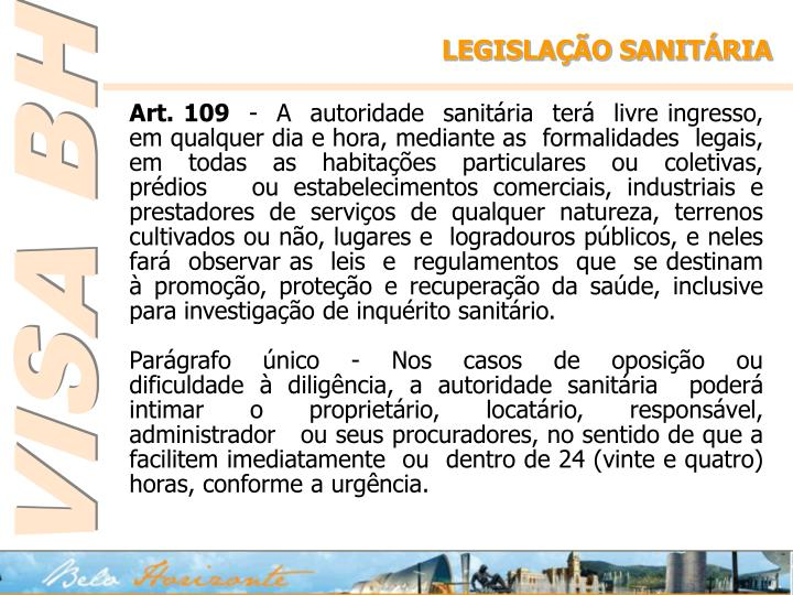 LEGISLAÇÃO SANITÁRIA