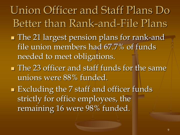 Union Officer and Staff Plans Do Better than Rank-and-File Plans