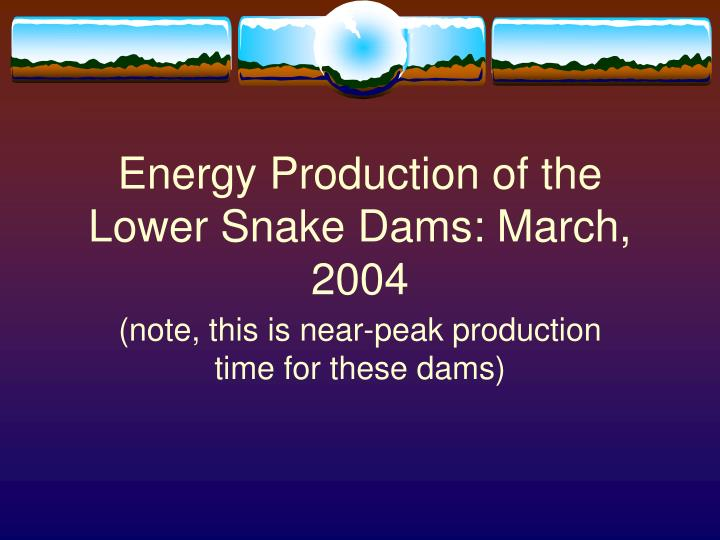 Energy Production of the Lower Snake Dams: March, 2004