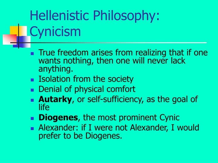 Hellenistic Philosophy: Cynicism