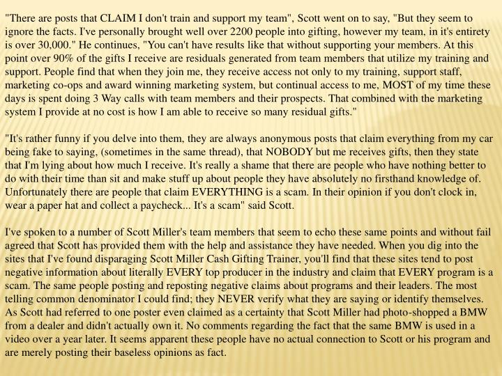 """There are posts that CLAIM I don't train and support my team"", Scott went on to say, ""But they seem..."