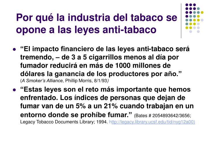 Por qué la industria del tabaco se opone a las leyes anti-tabaco