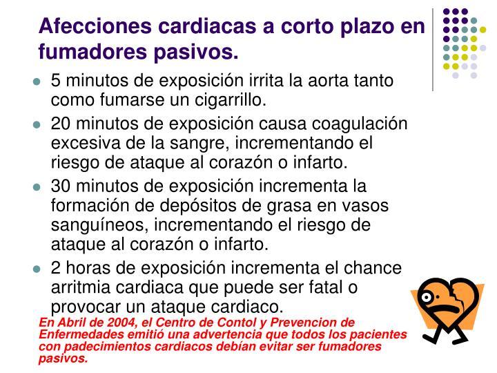 Afecciones cardiacas a corto plazo en fumadores pasivos.