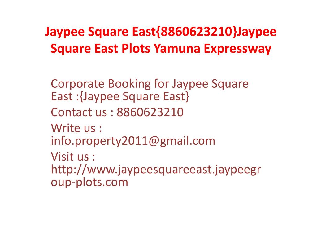 Jaypee Square East{8860623210}Jaypee Square East Plots Yamuna Expressway