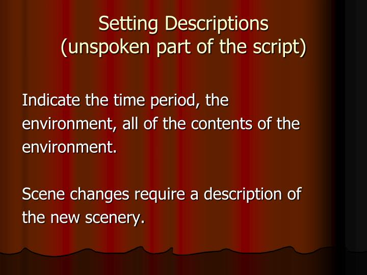 Setting Descriptions