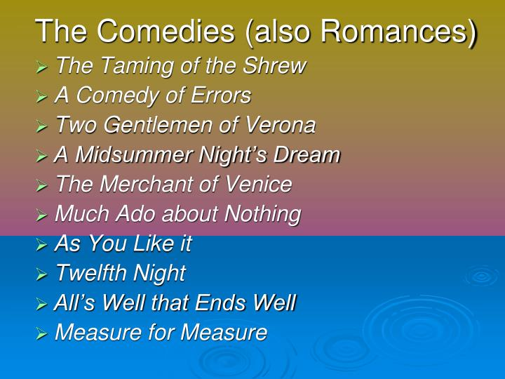 The Comedies (also Romances)