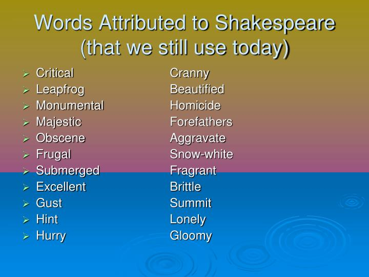 Words Attributed to Shakespeare
