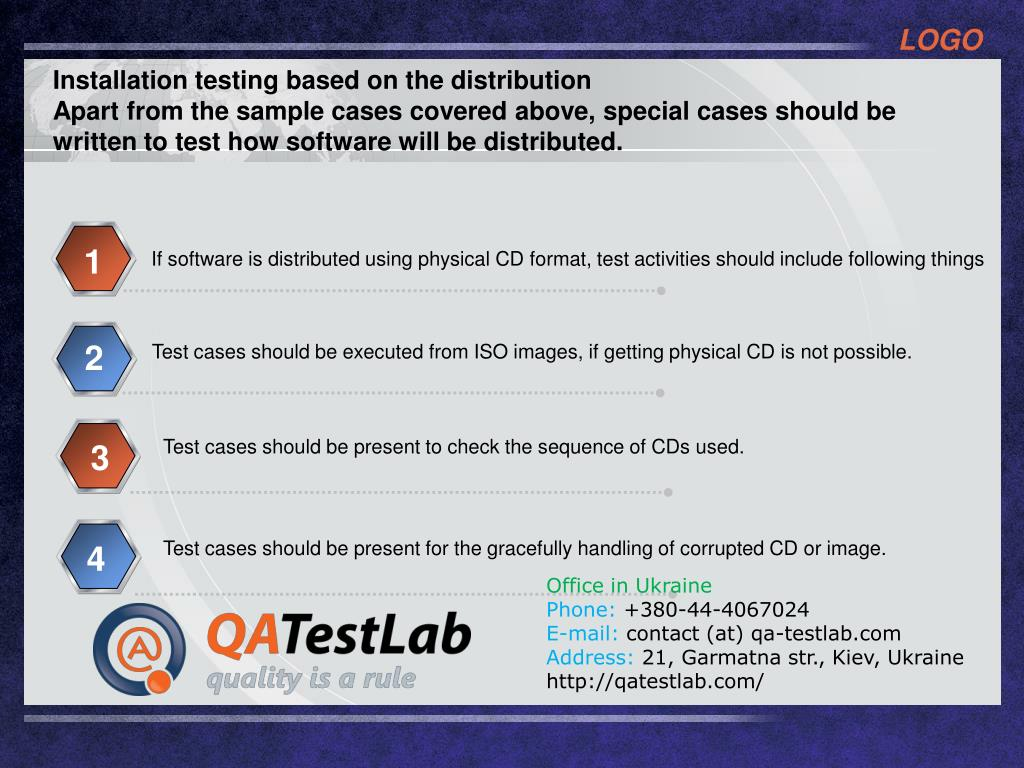 Installation testing based on the distribution