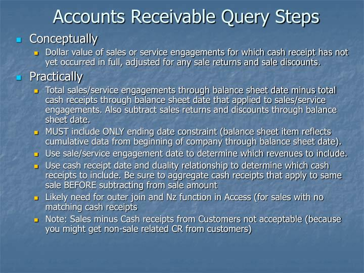 Accounts Receivable Query Steps