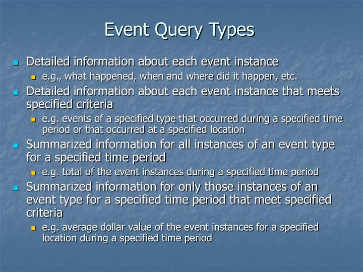 Event Query Types