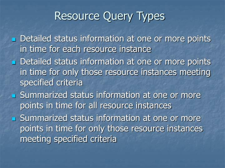 Resource Query Types