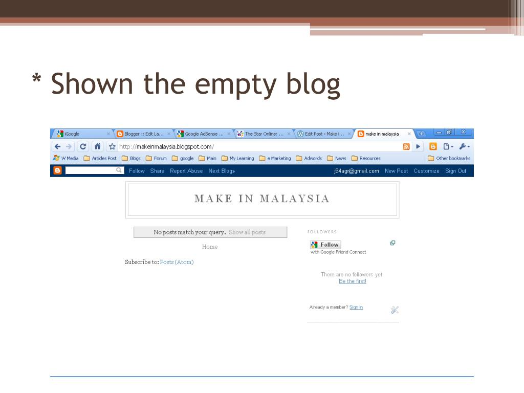 * Shown the empty blog