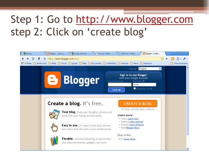 Step 1 go to http www blogger com step 2 click on create blog