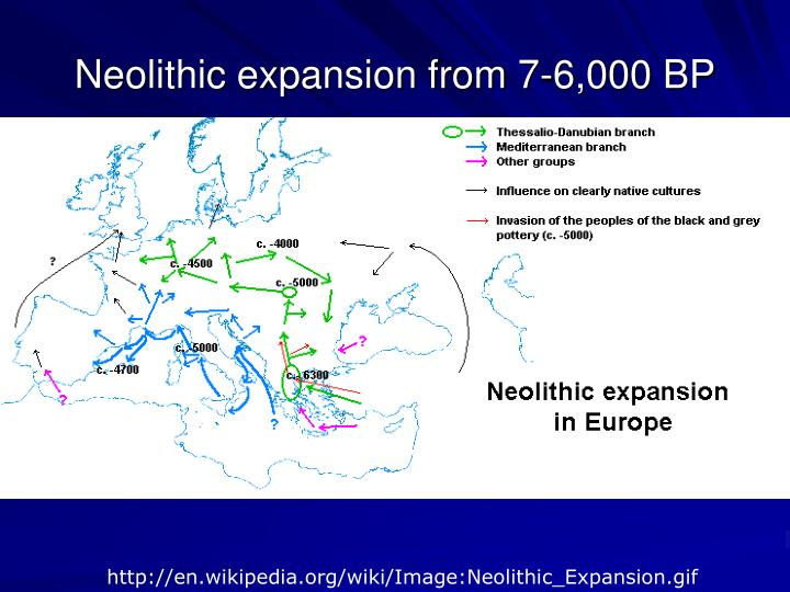 Neolithic expansion from 7-6,000 BP
