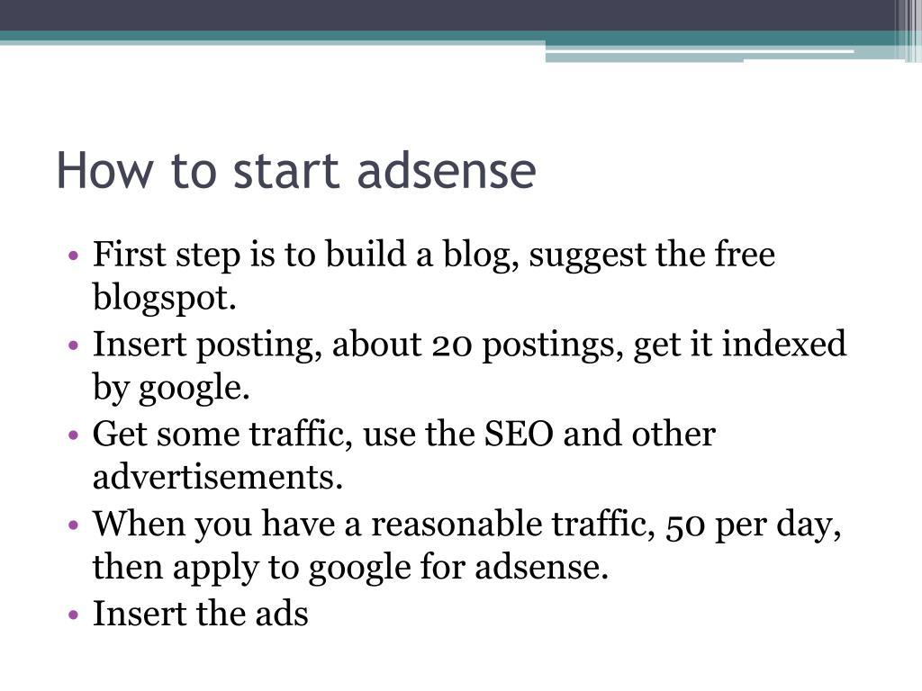 How to start adsense