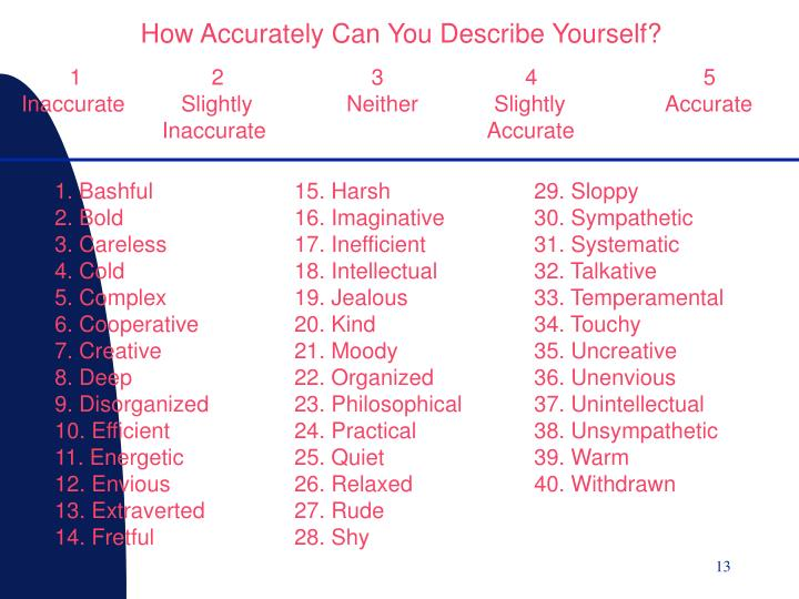How Accurately Can You Describe Yourself?