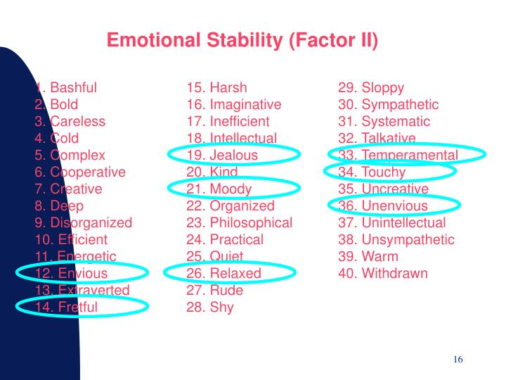 Emotional Stability (Factor II)