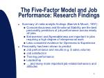 the five factor model and job performance research findings