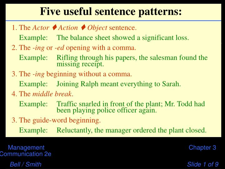 Five useful sentence patterns
