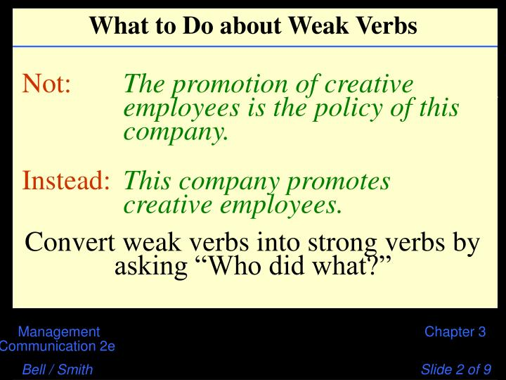 What to Do about Weak Verbs