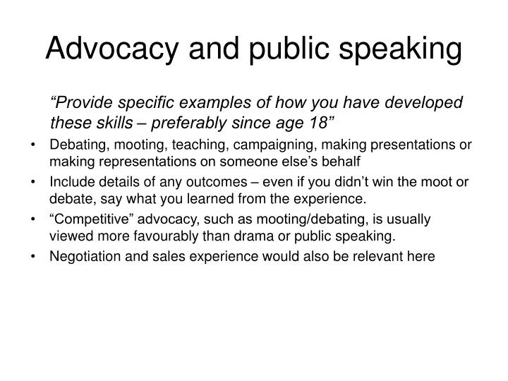 Advocacy and public speaking