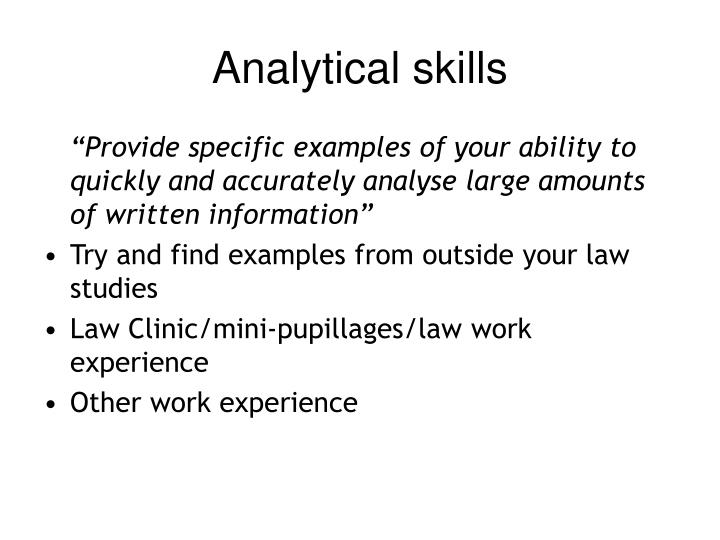 Analytical skills