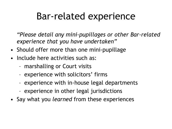 Bar-related experience