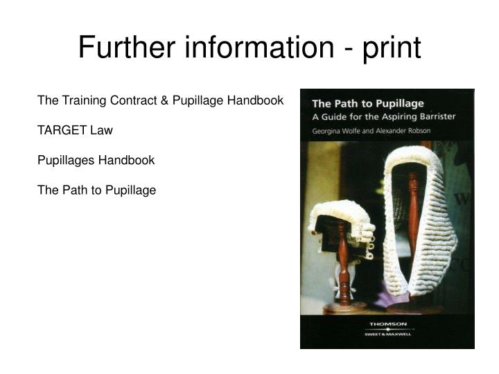 Further information - print