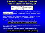 predicted longshore transport rate for storms at barrow ak