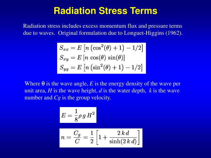 Radiation Stress Terms